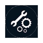 Button Servicesymbol in rotem Kreis
