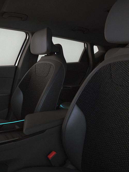 Kia EV6 Sitze in schwarz aus nachhaltigem Werkstoff