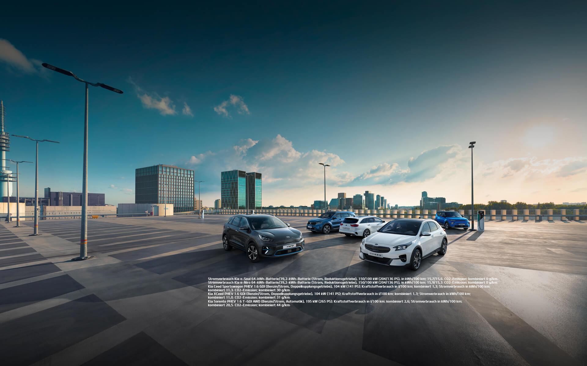 Bild Kia Innovationsprämie mit den Fahrzeugen e-Soul, e-Niro, Ceed SW PHEV, XCeed PHEV und Sorento PHEV