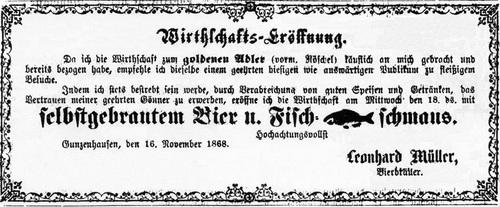 Alte Anzeige Wirtschafts-Eröffnung Goldener Adler 1868 (heutiges Adlerbräu)