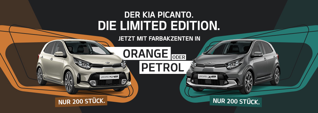 Kia Picanto Limited Edition in Farbakzenten Orange und Petrol