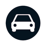 Button Symbol Auto in rotem Kreis