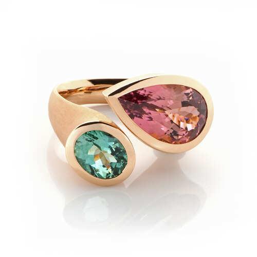1460-017 Ring 750 Rotgold, 2 Turmaline