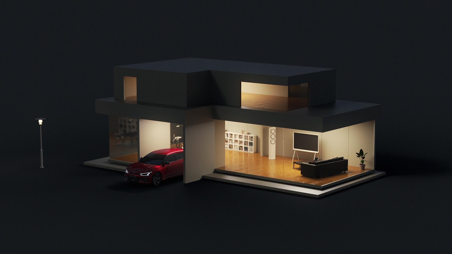 Nachtansicht Kia EV6 in Garageneinfahrt von beleutetem Haus