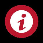 Button Infosymbol in rotem Kreis