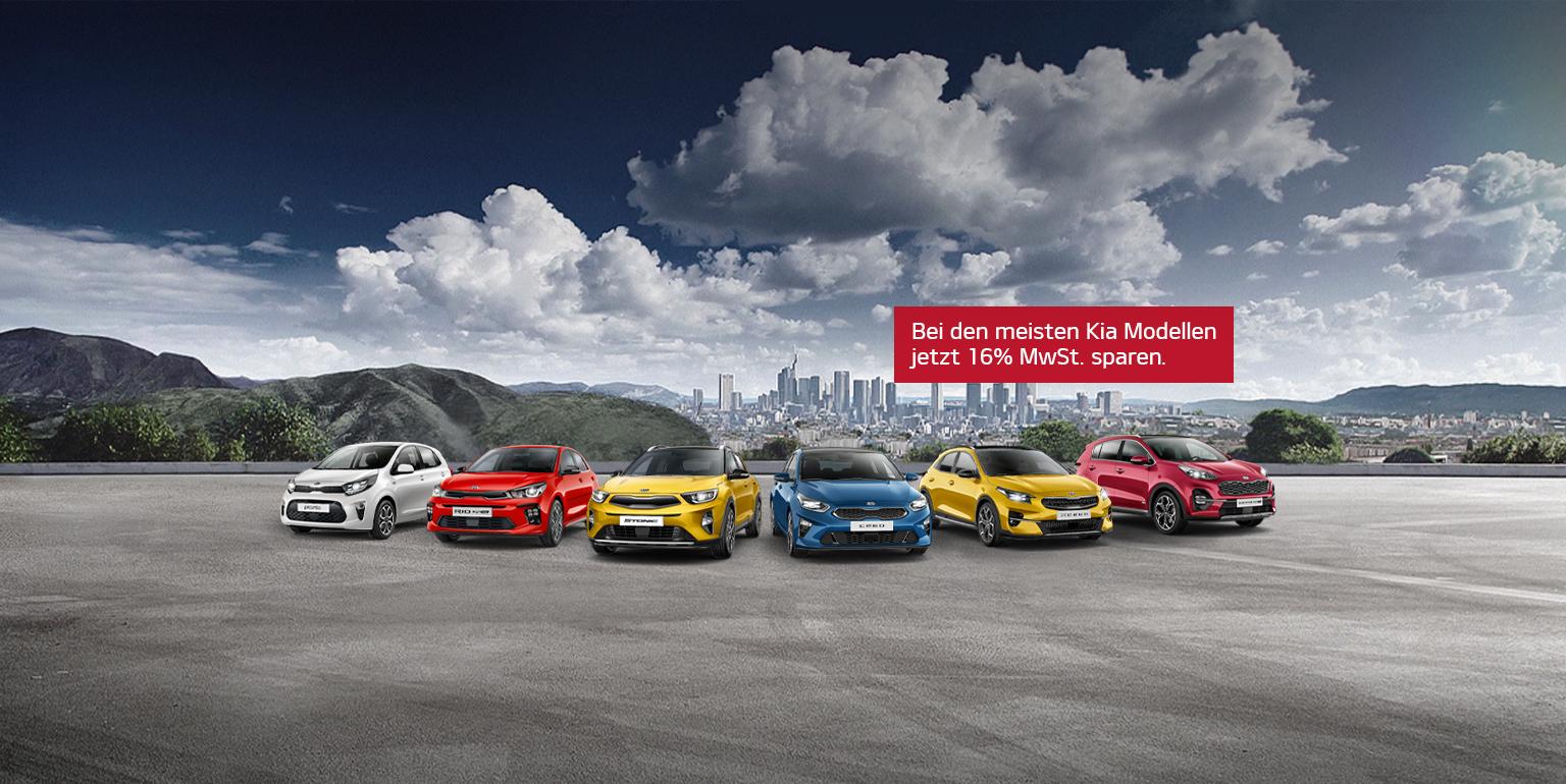 Bild Kia Kampagne Tschüss Mehrwertsteuer mit verschiedenen Kia Fahrzeugmodellen