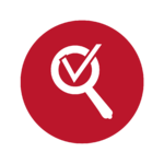 Button Inspektionssymbol in rotem Kreis