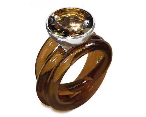 Ring Halbschale 14_Silber 925_Rauchquarz